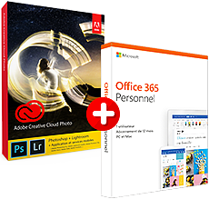 Adobe Creative Cloud pour la Photo 20 Go + Microsoft Office 365 Personnel