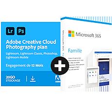 Adobe Creative Cloud Photo 20 Go + Microsoft 365 Famille