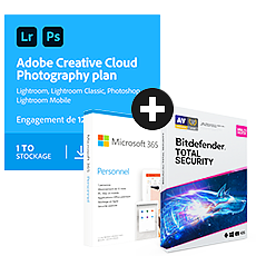Pack Adobe Creative Cloud Photographie - 1 To + Microsoft 365 Personnel + Bitdefender Total Security