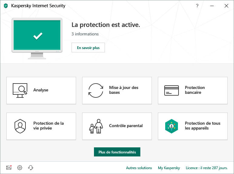 Try Kaspersky Internet Security (2019) for free during 30 days to protect your digital life from any cyberattack that threaten you while you are online.