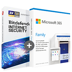 Microsoft 365 Family - 6 persone + Bitdefender Internet Security 2020