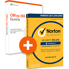 Pack Office 365 Famille + Norton™ Security Deluxe - 5 appareils - Abonnement 1 an