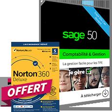 Sage 50 Comptabilité + Gestion Commerciale Essentials - Contrat Simply + Norton 360 Deluxe